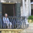 Lonely Woman on Venetian Balcony by April Anderson