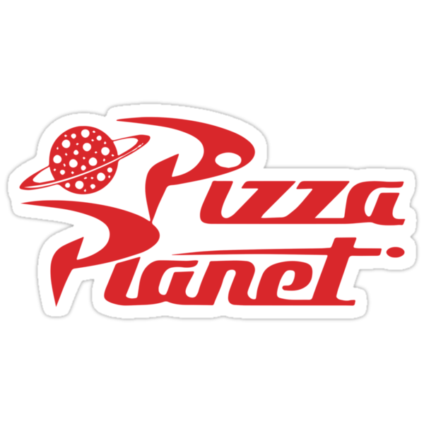 """""""Pizza Planet shirt – Toy Story, Woody, Buzz"""" Stickers by ..."""