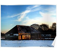 Snowy Farmhouse - Angmering, East Sussex Poster