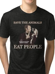 SAVE THE ANIMALS, EAT PEOPLE Tri-blend T-Shirt