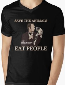 SAVE THE ANIMALS, EAT PEOPLE Mens V-Neck T-Shirt