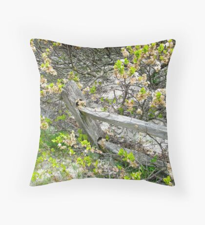 Weathered Fence and Tree - Island Beach State Park Throw Pillow