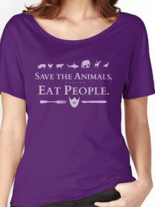 save the animals, EAT PEOPLE (2) Women's Relaxed Fit T-Shirt