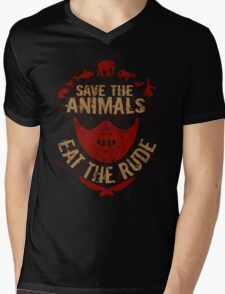 save the animals, EAT THE RUDE Mens V-Neck T-Shirt