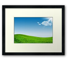 Blue sky and green grassland Framed Print