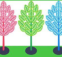 THREE TREES - BRUSH AND GOUACHE by RainbowArt