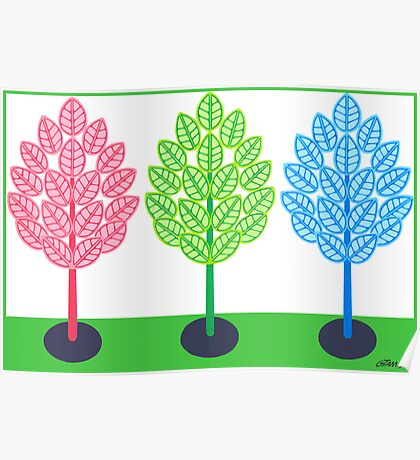 THREE TREES - BRUSH AND GOUACHE Poster