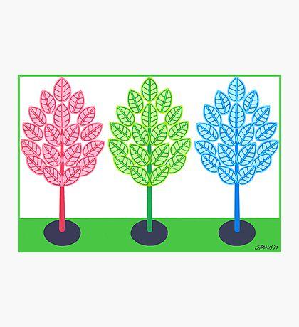 THREE TREES - BRUSH AND GOUACHE Photographic Print