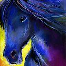 Friesian horse Pastel painting Svetlana Novikova by Svetlana  Novikova