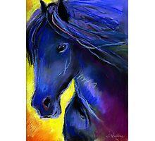 Friesian horse Pastel painting Svetlana Novikova Photographic Print