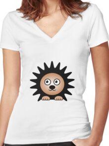 Little Cute Hedgehog Women's Fitted V-Neck T-Shirt