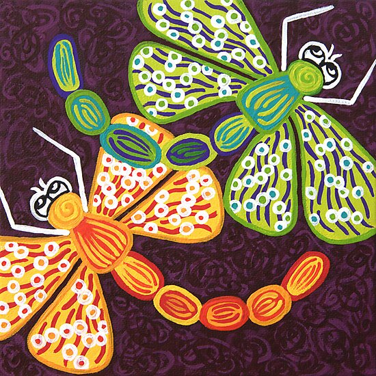 'Dragonflies Play'  - Quirky Happy Art by Lisa Frances Judd~QuirkyHappyArt