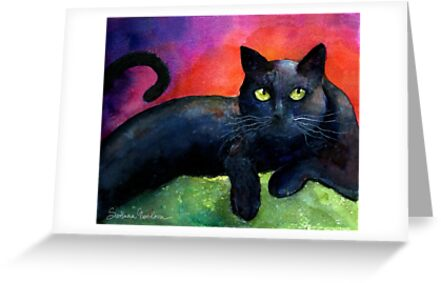 Black Cat Watercolor portrait Painting Svetlana Novikova by Svetlana  Novikova