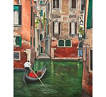 Water Taxi On Side Venice Canal Photographic Print