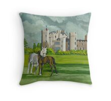 Mare And Foal On Castle Grounds Throw Pillow