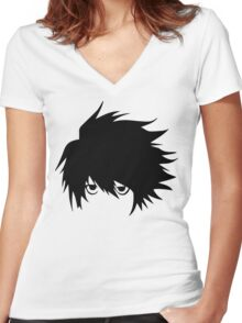 L - Vector Trace Women's Fitted V-Neck T-Shirt