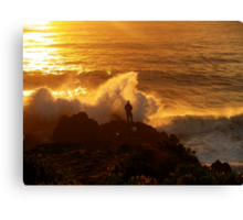 Rock Fishing Near Moruya - NSW - Australia. xx Canvas Print