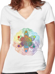 Six Color Red-Orange-Yellow-Green-Blue-Purple Women's Fitted V-Neck T-Shirt