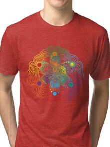 Six Color Red-Orange-Yellow-Green-Blue-Purple Tri-blend T-Shirt