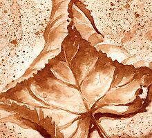 Autumn Leaf - Coffee painting by Gee Massam
