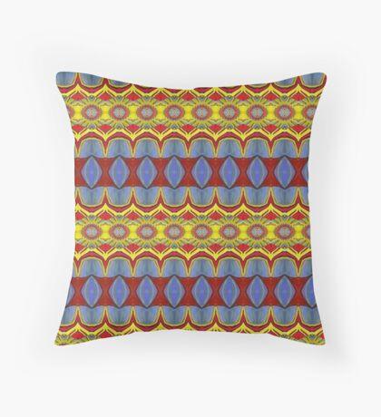 Pattern Blue Gold Orange Throw Pillow