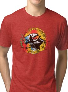 Groovy Hawaiian Surfer 1960s Retro Graphic - Navy & Red Tri-blend T-Shirt