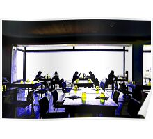 Cross Processed image of inside a restaurant in Costa Brava, Spain Poster