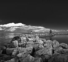 Jordan Harbour Breakwater B&W by Daphne Johnson