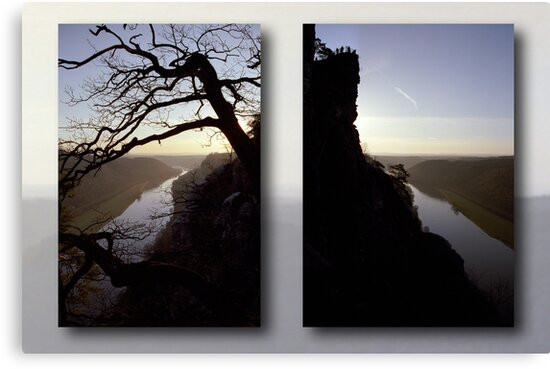 High above the Elbe river - diptych (Saxony Switzerland, Germany) by Lenka