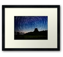 Star trails over Devils Tower Framed Print