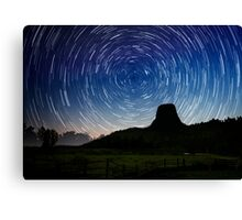Star trails over Devils Tower Canvas Print