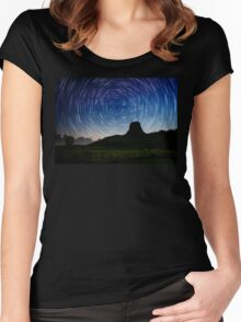 Star trails over Devils Tower Women's Fitted Scoop T-Shirt