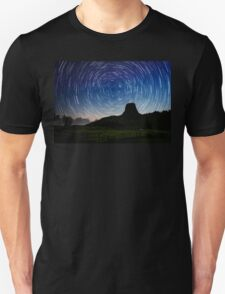 Star trails over Devils Tower T-Shirt