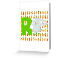 r for rabbit Greeting Card