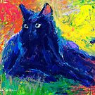 Impressionistic Black Cat painting Svetlana Novikova by Svetlana  Novikova
