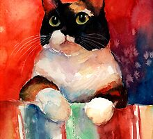 Watercolor Calico Tubby Cat painting Svetlana Novikova by Svetlana  Novikova