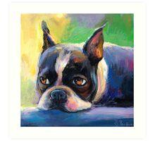 Boston Terrier pensive Dog painting Svetlana Novikova Art Print