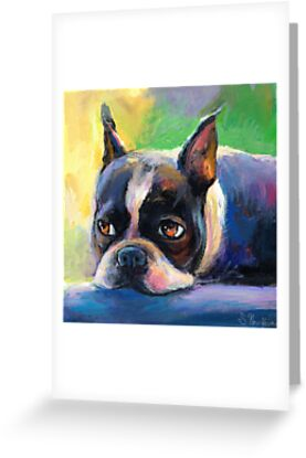 Boston Terrier pensive Dog painting Svetlana Novikova by Svetlana  Novikova