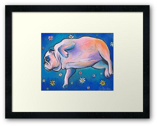 Whimsical Bulldog dreaming painting Svetlana Novikova by Svetlana  Novikova