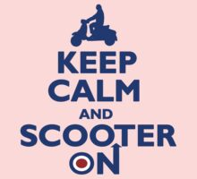 Keep Calm and Scooter On (blue) Kids Clothes