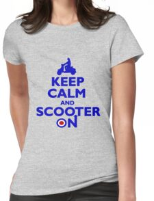 Keep Calm and Scooter On (blue) Womens Fitted T-Shirt