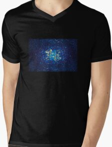 3D Blue Glass Mosaic with light reflections Mens V-Neck T-Shirt