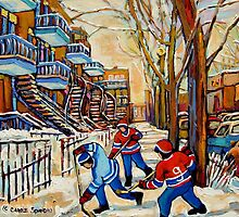 DEBULLION STREET HOCKEY GAME by Carole  Spandau