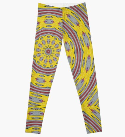 Patterned Kaleidoscope in Yellow and Gray Leggings