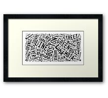 Boston Subway or T Stops Word Cloud Framed Print
