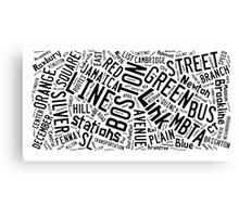 Boston Subway or T Stops Word Cloud Canvas Print