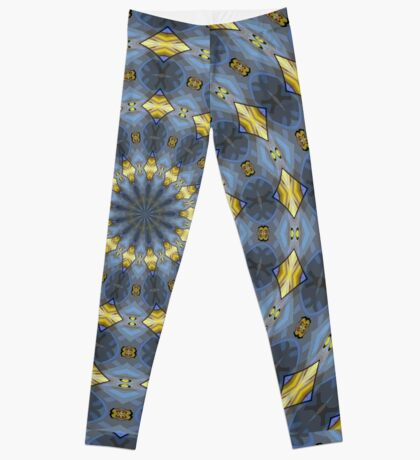 Gray and gold Kaleidoscope pattern Leggings
