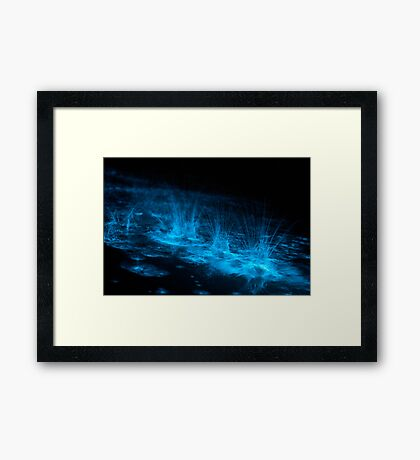 Bioluminescent Splashes Framed Print