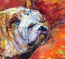 Sleeping Impasto Bulldog Painting Svetlana Novikova by Svetlana  Novikova