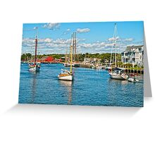Boat traffic on the Connecticut River, Mystic Ct. USA. Greeting Card